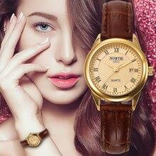Reloj de las mujeres de Moda Casual 30 M Impermeable Verdadera Mujer de Cuero de Dama Reloj de pulsera de Cuarzo Mujeres Reloj de Oro 2017 DEL NORTE