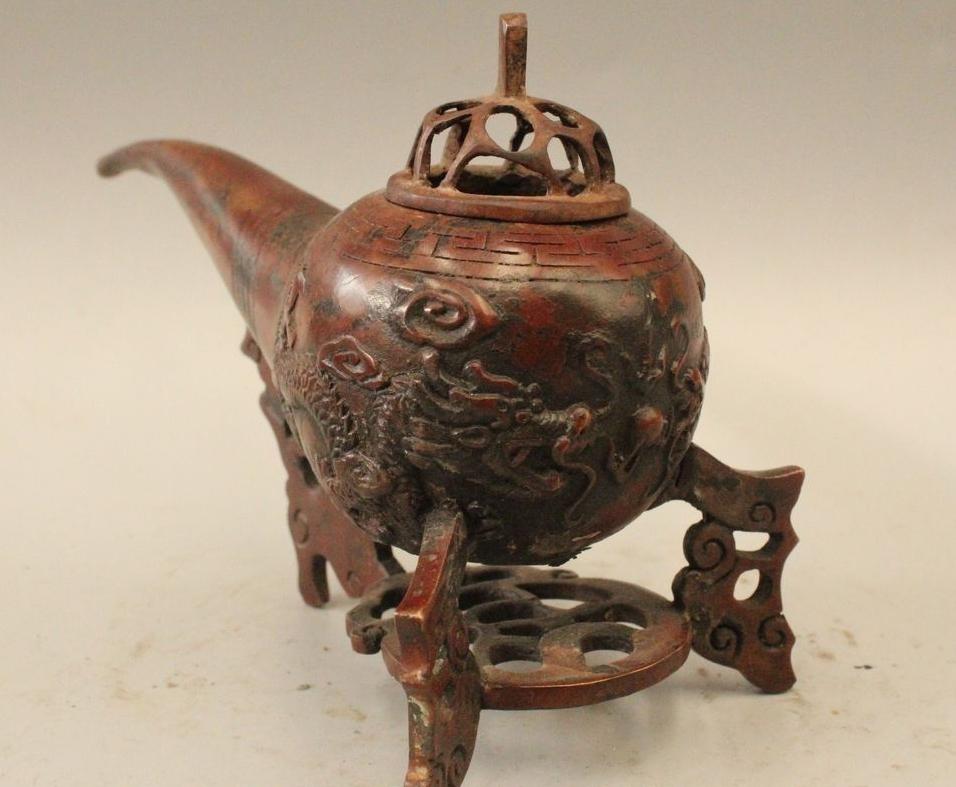 5 Gemarkeerd China Chinese Brons pijp Dragon Brander Censer Standbeeld - 2