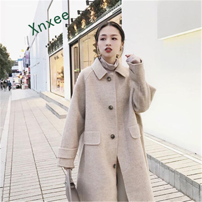 Xnxee nouveau wolen tissu manteau vent chaud manteau design haute qualité 2019 mode femmes & #39s vêtements laine long manteau élégant outwear