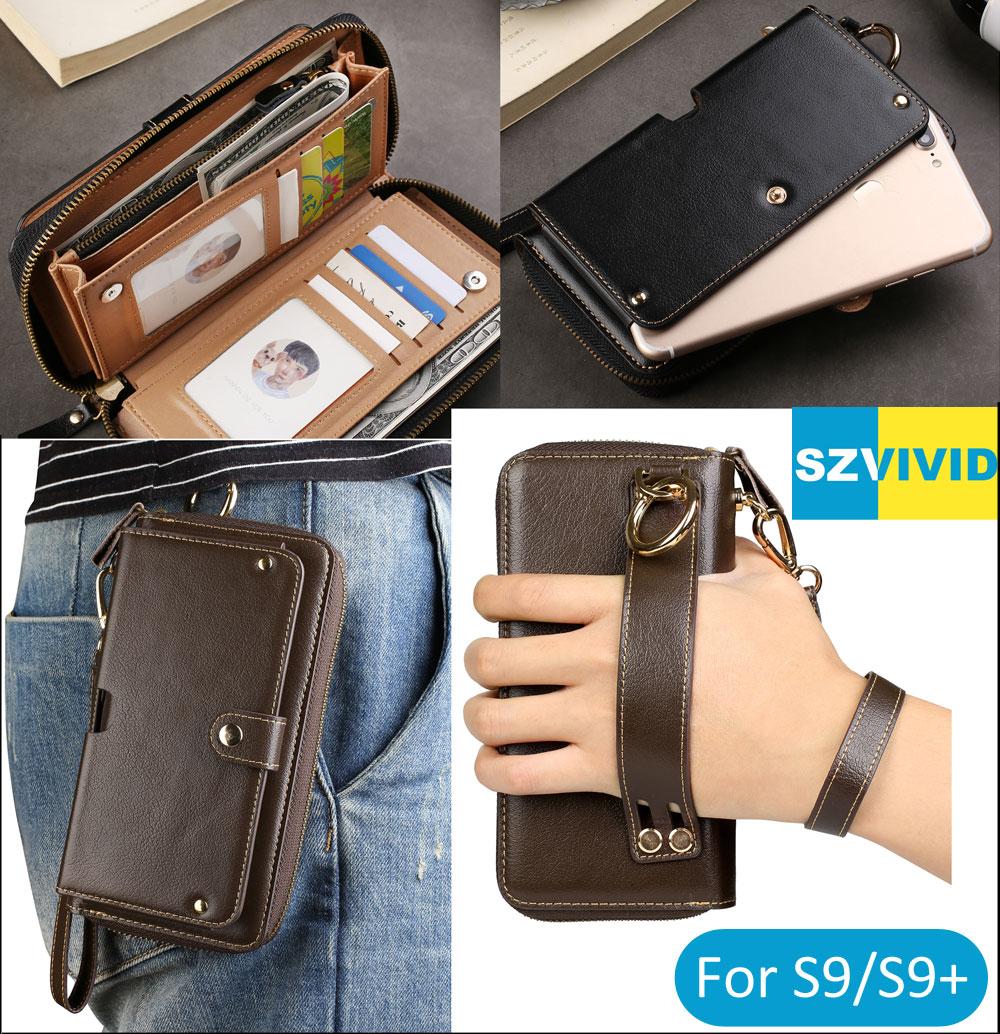 Purse Handbag Wallet Leather Bag For Samsung Galaxy S9 S8 Plus S7 edge Note 8 C9 Pro Clutch Wristlet Waist Phone Bags Pouch Case