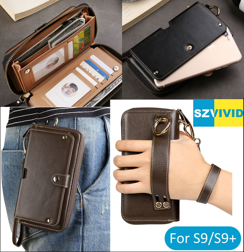 Purse Handbag Wallet Leather Bag For Samsung Galaxy S9 S8 Plus S7 edge Note 8 C9 Pro Clutch Wristlet Waist Phone Bags Pouch Case