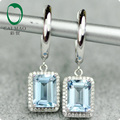 14K White Gold Natural 2.84ctw Aquamarine & Diamond Engagement Drop Earrings