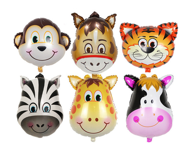 zoo animal balloons monkey giraffe zebra cow tiger horse head helium