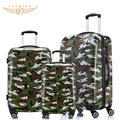 2017New 3 Pieces Set Trolley Rolling Travel Hardside Luggage Sets  20+24+28 inches Camouflage Print Fochier PC+ABS Fochier