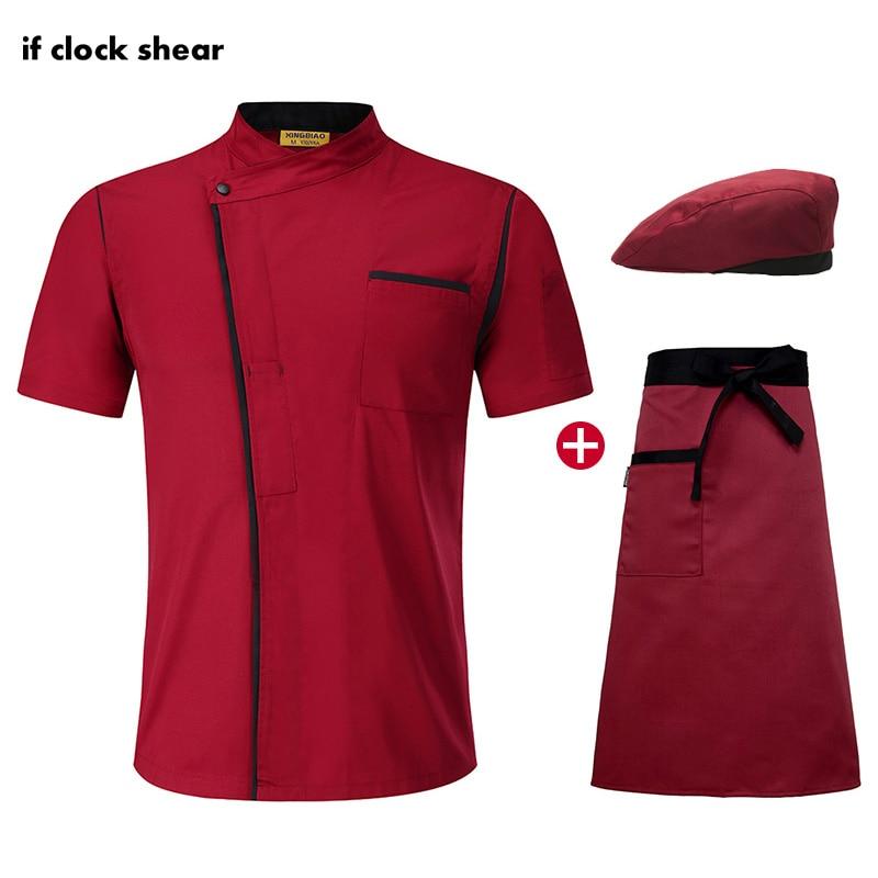Breathable Catering Jacket Hat Apron Short Sleeve Kitchen Work Clothes Men Chef Restaurant Uniform Wholesale Ladies Chef's Shirt