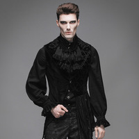אופנה שטן Steampunk גותי שחור ללא שרוולים רקמת שמלת אסימטרית Vest מעילי לגברים מעיל ווסטים