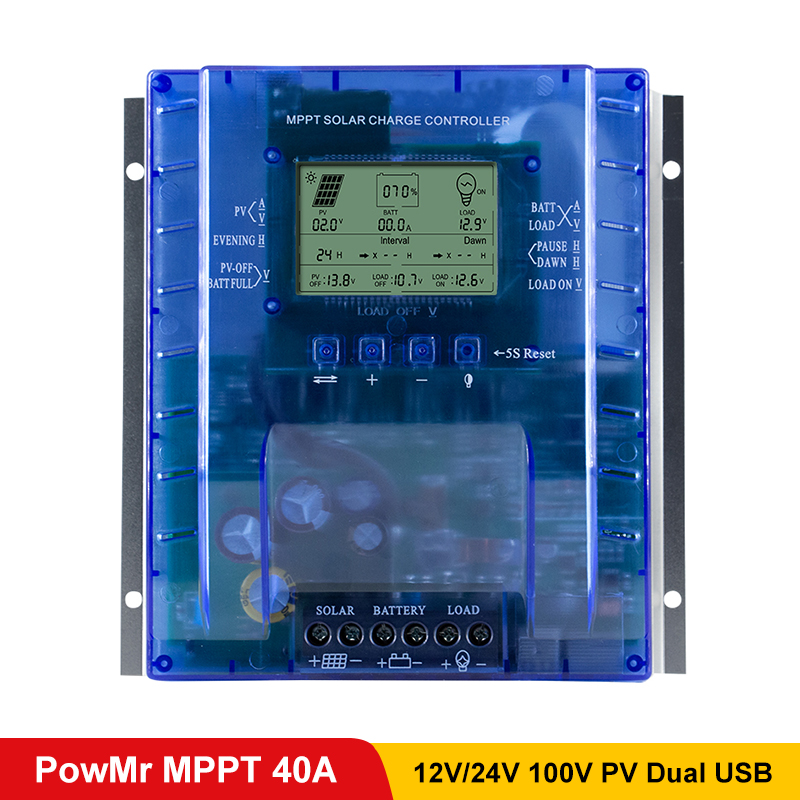 PowMr 40A MPPT PV Charge And Discharge Solar Controller 12V 24V Battery Regulator Solar Panel System 100V 780W/1560W InputPowMr 40A MPPT PV Charge And Discharge Solar Controller 12V 24V Battery Regulator Solar Panel System 100V 780W/1560W Input