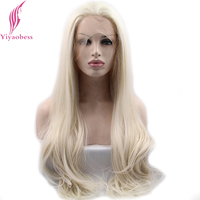 Yiyaobess Glueless Natural White Blonde Ombre Synthetic Lace Front Wig Synthetic Heat Resistant Long Wavy Wigs For Women