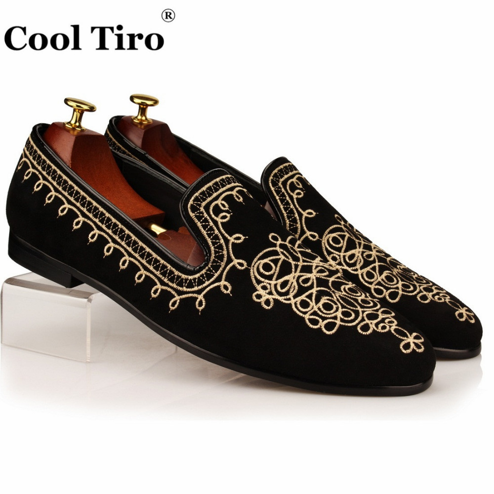 COOL TIRO Men Loafers Gold Embroidery Slide Slippers Party Banquet Black Suede Dress Shoes Fashion Handmade