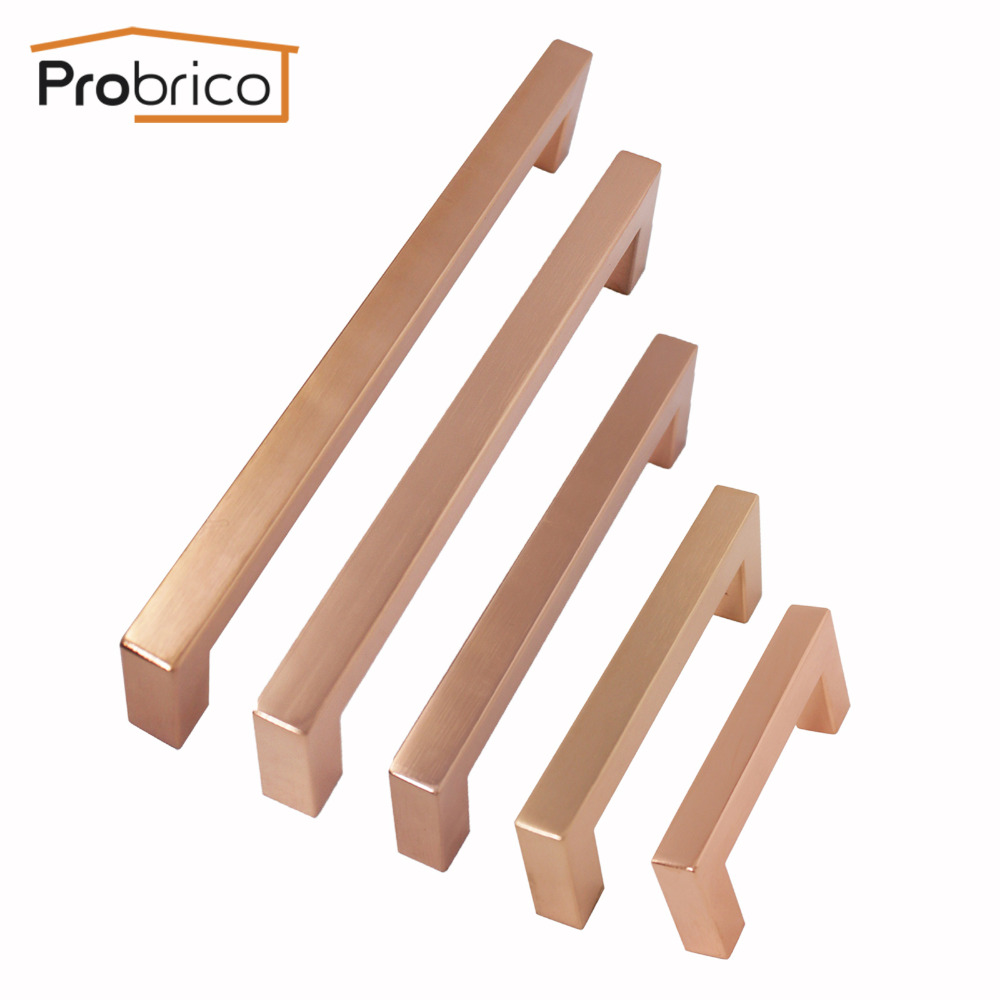 Probrico Kitchen Furniture Cabinet Handles Rose Gold Handles for Dresser Drawers Stainless Steel Cabinet Pull Cupboard PullsProbrico Kitchen Furniture Cabinet Handles Rose Gold Handles for Dresser Drawers Stainless Steel Cabinet Pull Cupboard Pulls