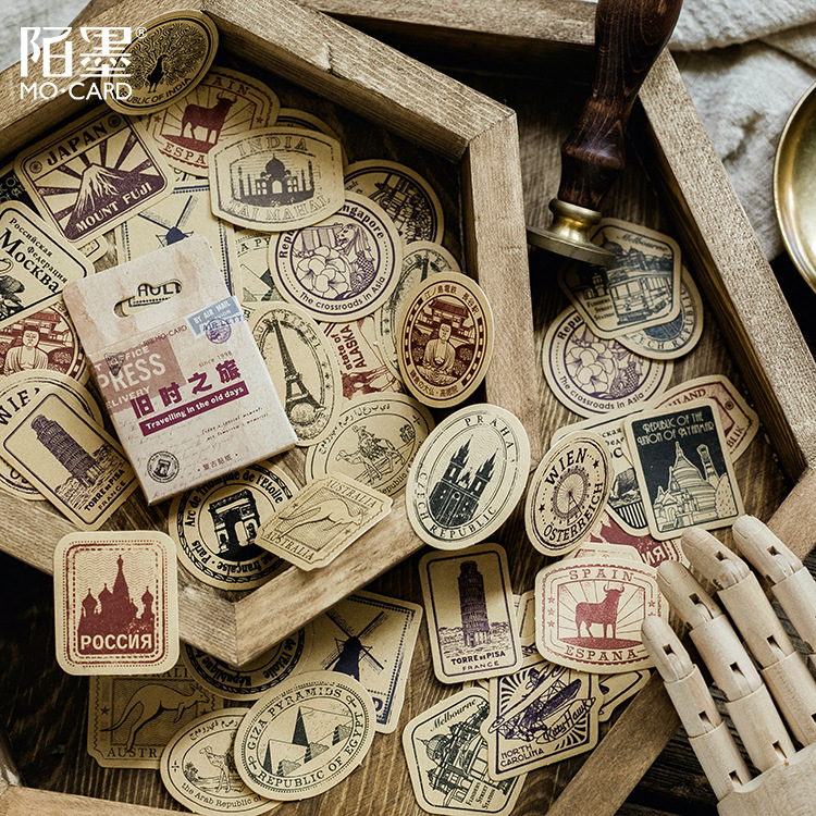 Travelling In The Old Days Decoration Adhesive Stickers Diy Retro Kraft Paper Stickers Diary Sticker Scrapbook Stationery