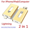 For iPhone 6, 6s Plus 5 5S 7puls ipad Metal Pen drive HD memory stick Dual purpose mobile Otg Micro USB FLASH Drive 512/128/64GB