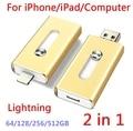 For iPhone 6, 6s Plus 5 5S 7puls ipad Metal Pen drive HD memory stick Dual purpose mobile Otg Micro USB FLASH Drive 512/128/64GB