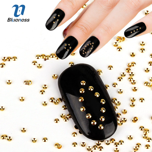Aliexpress Buy Gold Color Metal Beads 3d Decorations Nail Art