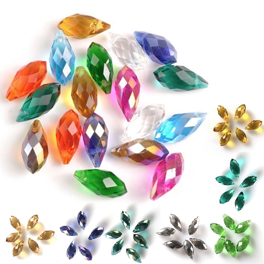 Wholesale 3~15mm Glass Crystal Teardrop Faceted Loose Spacer Beads DIY Findings