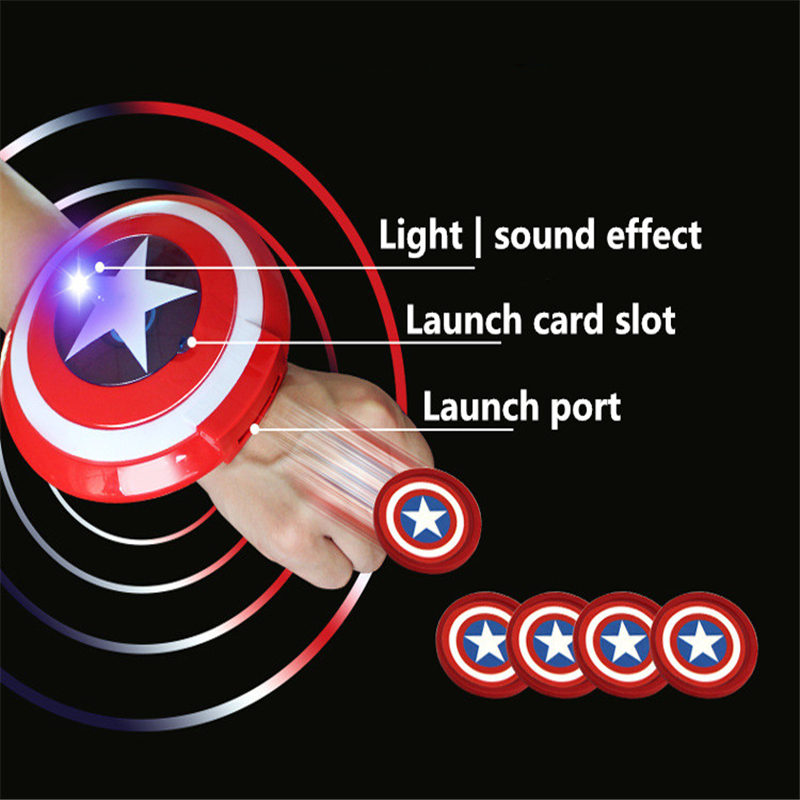 Halloween cosplay Captain America Shield Wrist Darts Launcher Avengers Sounds Toys Props Children Gifts in Costume Props from Novelty Special Use