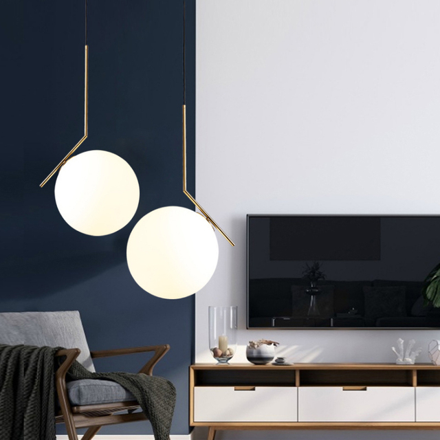 Modern Nordic Designer Glass Ball Gold White Hanging Pendant Lamp Light for Dining Room Living Room Loft Decor Kitchen Bedroom