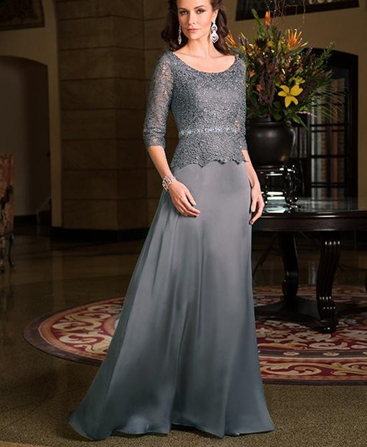 Elegant Grey Lace Grandmother Of The Bride Dresses With Sleeve A