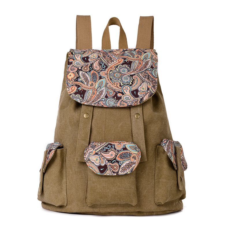 Casual Canvas Backpacks for Women Printed Vintage Drawstring Travel School Bags For Teenager Girls Top-handle Backpacks Book Bag все цены