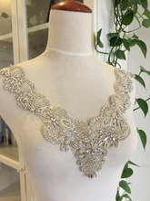 Handmade Gorgesou Rhinestone Applique Bridal , Neckline Collar Cyrstal Pearl Beaded Applique, Luxury Wedding Gown Belts Sashes