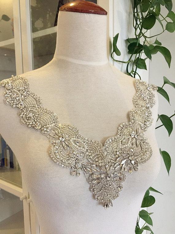 Handmade Gorgesou Rhinestone Applique Bridal , Neckline Collar Cyrstal Pearl Beaded Applique, Luxury Wedding Gown Belts Sashes