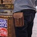 Novo Saco Da Cintura Dos Homens Crazy Horse Couro Pu Estilingue Saco de Cigarro, 5 polegada Do Telefone Móvel Saco, Bolsa Masculina Lazer Sling Bag Bolso Pequeno