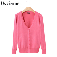 25Solid Colors New Sweater Women Cardigan Knitted Sweater Coat Long Sleeve Crochet Female Casual V Neck
