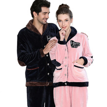 Mens Matching Couples Winter Flannel Pajama Set sleepwear pajamas Men Plus Size nightwear XXXL