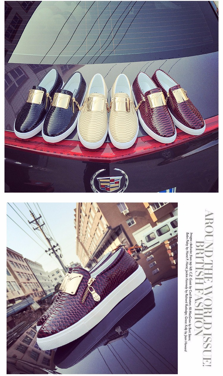 2016 Spring New Fashion Sequined Female Flats Shallow Mouth Platform Loafers Zipper Lazy Ladies Shoes Big Size 36-40 ST204 (2)