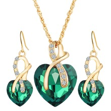 17KM 2017 Gold Color Love Crystal Heart Jewelry Sets For Women Necklace Earrings Jewellery Set New Bridal Wedding Accessories