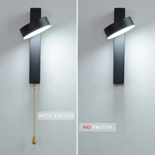 LED wall lamp with switch 7W 9W bedroom living room Nordic modern light aisle study reading sconce white black lamps