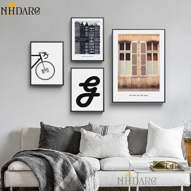 NHDARC Canvas Printings Bicycle Inverted Image Posters and Prints Spray Painting Wall Art Pictures For Living Room Home Decor