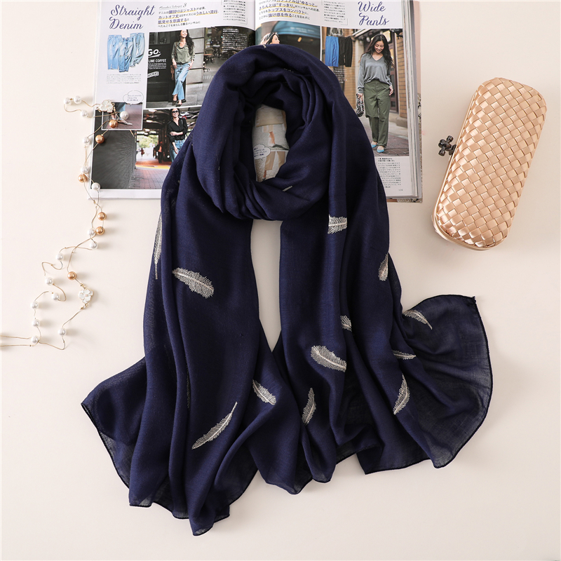 2020 Women Scarf Fashion Embroider Feather Cotton Winter Scarves For Lady Shawls And Wraps Pashmina Warm Long Size Stoles Hijab