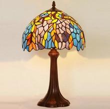 12 дюймов настольная лампа классическое искусство цвет абажур спальня ночники, Yslc-36, Бесплатная доставка