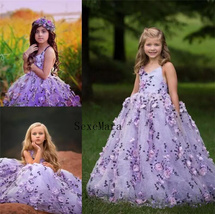 Gorgeous Fluffy Flower Girl Dresses With 3D Floral Applique V-Neck Lace-Up Backless Girls Birthday Dress Girls Pageant Dress floral applique fringe hem asymmetrical hijab dress