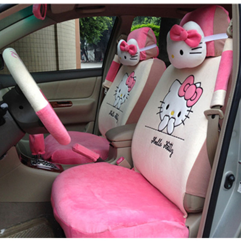 Lovely Cartoon Car Seat Covers Hello Kitty 18pcs Soft Plush Universal Steering Wheel Cover In Automobiles From