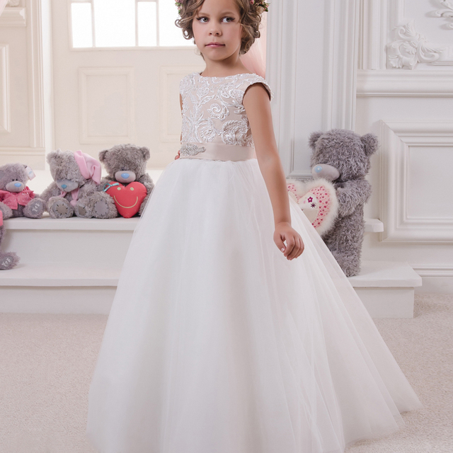 Lace Flower Girl Dresses High Collar Crystal Decoration Little Girl