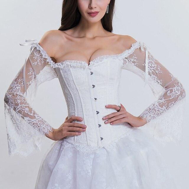 grand choix de 0d090 9a93d € 15.11 35% de réduction Dentelle florale victorienne blanche à manches  longues évasées corset de mariée sans bretelles Corsets Sexy et Bustiers ...