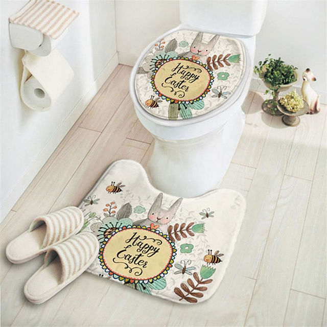 Absorbent Non Slip Bathroom Mats Set Cartoon Rabbit Toilet Ring Pads ...