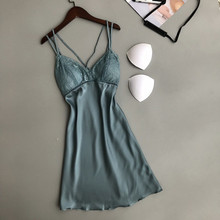 Ladies Sexy Silk Satin Night Dress Sleeveless Nighties V-neck Nightgown Lace Trim Mini Nightdress Sleepwear Nightwear For Women ladies sexy silk sleepwear satin nightgown v neck nightdress slip nighties summer nightdress lace night gown for women chest pad