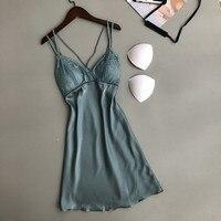 f38e331819c4 Ladies Sexy Silk Satin Night Dress Sleeveless Nighties V Neck Nightgown  Lace Trim Mini Nightdress Sleepwear. Senhoras Nighties Seda Sexy Cetim  Vestido ...