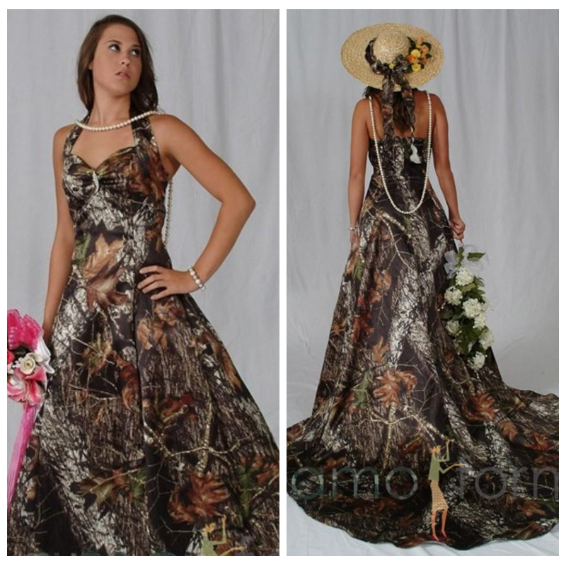 Camouflage Wedding Gowns: Halter A Line Camo Bridal Dresses Chapel Train Camouflage