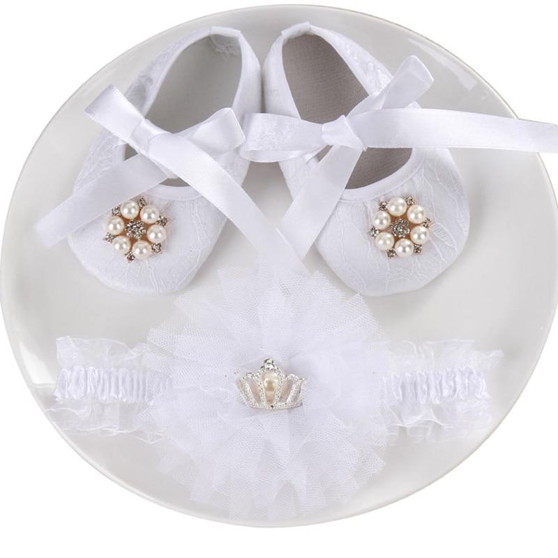 Boutique Baby Moccasins Toddler;First Walker Brand Baby Shoes Girls Headband Set;Newborn Party Christening Baptism Ballerina Set