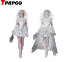 TPRPCO kobiety wampir Zombie sukienka dekadencki ciemny duch panna młoda stylizacja sexy kostiumy Halloween kostiumy Cosplay dla kobiet NL147