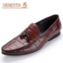 GRIMENTIN Fashion brand designer Mens Loafers Genuine Leather Tassel Casual Shoes Wedding Driving Moccasion Shoes men Flats n03