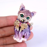 Bella moda púrpura de dibujos animados gato animal broche Pasadores cristal austriaco Champagne bowknot rhinestone Broches para las Mujeres Partido