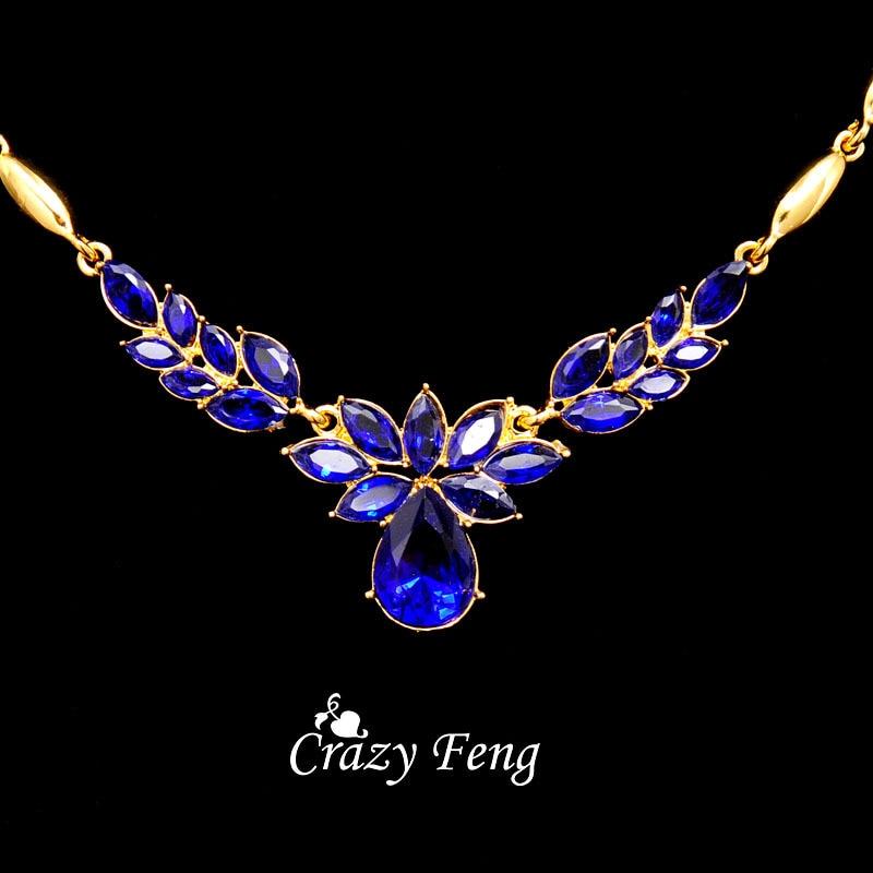 3 couleurs femmes couleur or fleur forme bijoux de fiançailles ensemble CZ cristal pendentif Collier boucles d'oreilles bijoux ensembles Collier Femme 5