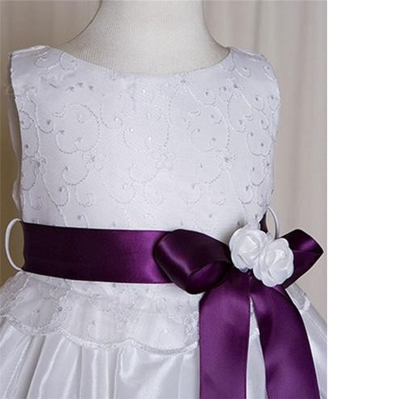 Flower Girl Dresses For Wedings A Line Kids Frock Designs Purple