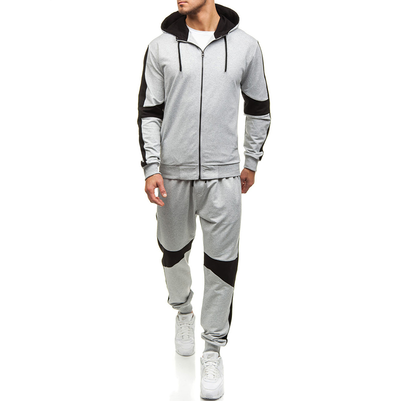 Sports Fitness Mens Sets Black Hoodies Fashion 2019 Tracksuit Men Gym Breathable Causal Zipper Sweatshirts Sweatpants