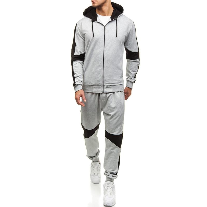 Sports Fitness Mens Sets Black Hoodies Fashion 2019 Tracksuit Men Gym Breathable Causal Zipper Sweatshirts Sweatpants